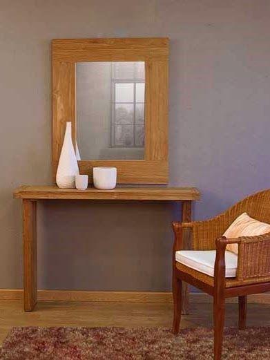 Consola y espejo RUSTIC de Bambó Blau. De madera de teca rayada ...