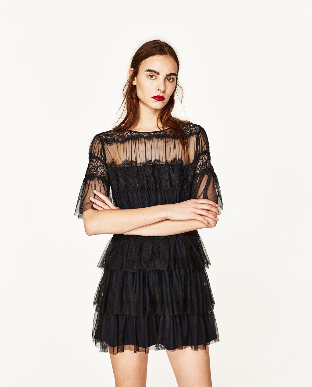 a0919c670 VESTIDO TUL Y ENCAJE   Garments —   Black lace mini dress, Lace ...