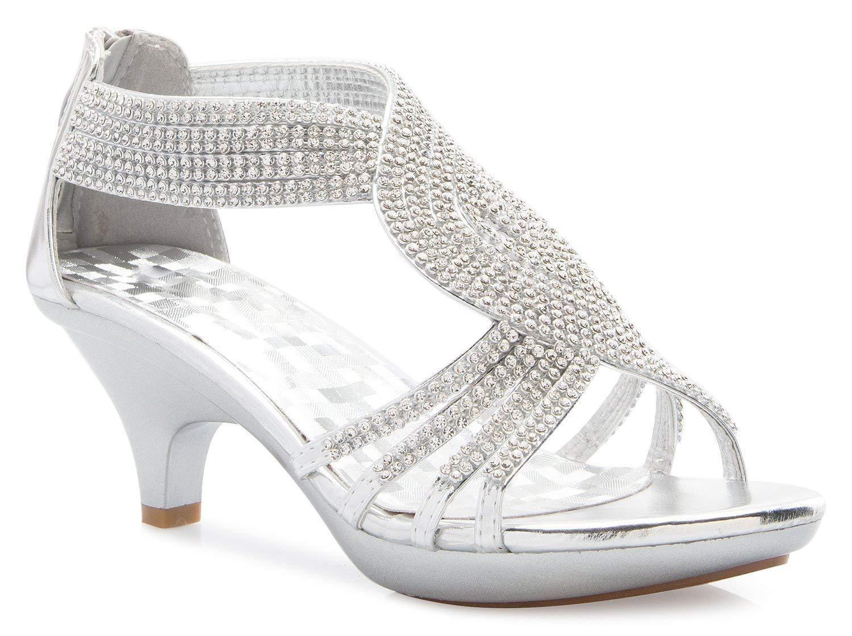 b09fa735d8 OLIVIA K Women's Open Toe Strappy Rhinestone Dress Sandal Low Heel Wedding  Shoes