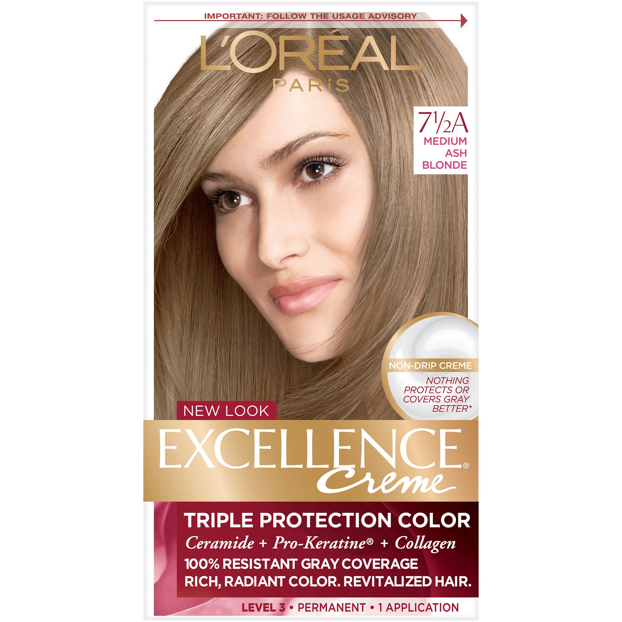 L Oreal Paris Excellence Triple Protection Permanent Hair Color 6 3 Fl Oz 7 5 A M Ash Blonde 1 Kit Medium Ash Blonde Grey Hair Coverage Permanent Hair Color