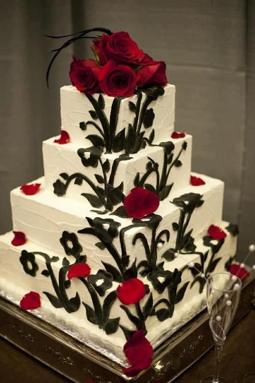 Four Layer Square Cake with Red Roses and Black Vines