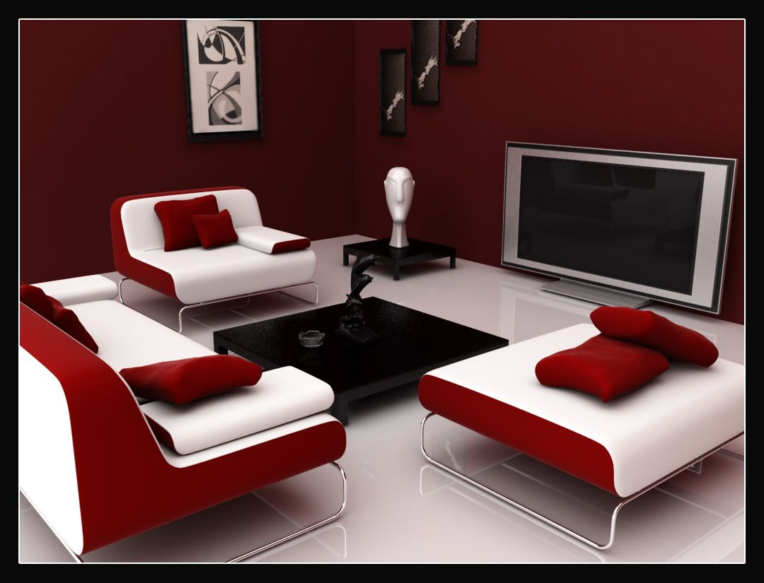 Gentil Red Black And White | Dramatic Red, White And Black Interior Colour Scheme  Creates .