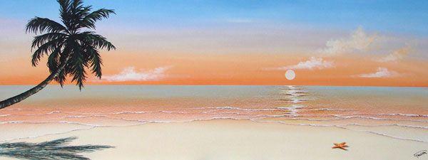 Quadro marina alba tropicale cm 45x120 dipinto a for Paesaggi marini dipinti