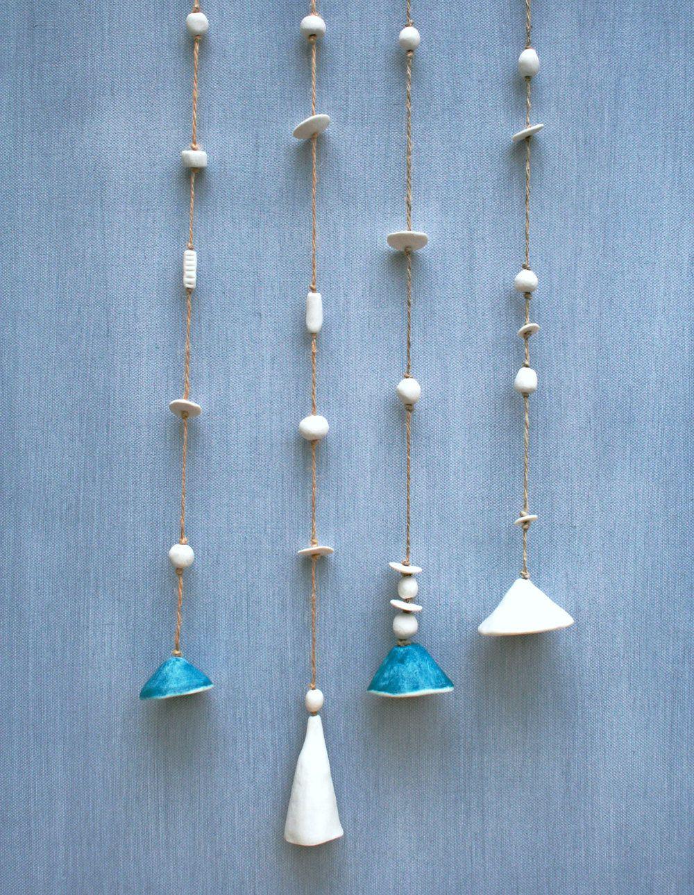 Artisan Ceramic Bells Decorative Hanging Bells Blue And White Porcelain Wall Hanging Garden Ornament Modern Home Dec Ceramic Bell Hanging Bell Boho Decor