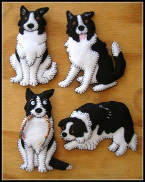 ac415ec8c01 Border Collie Puppy-handmade felt Christmas Ornament-Magnet Combo ...