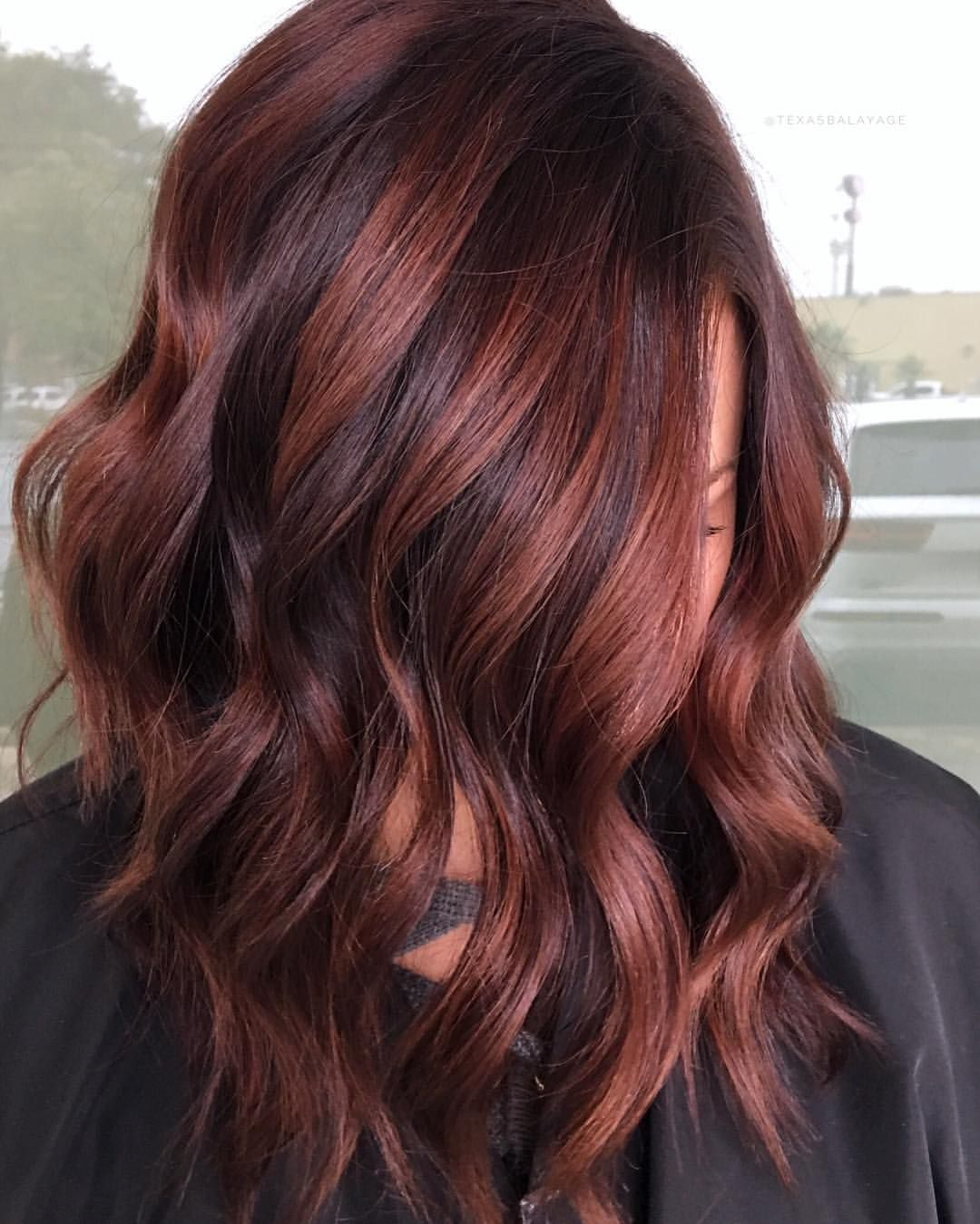 Chocolate Raspberry Red Brown Warmth Painted From A Dark Permanent Color Red Highlights In Brown Hair Highlights For Dark Brown Hair Raspberry Hair Color