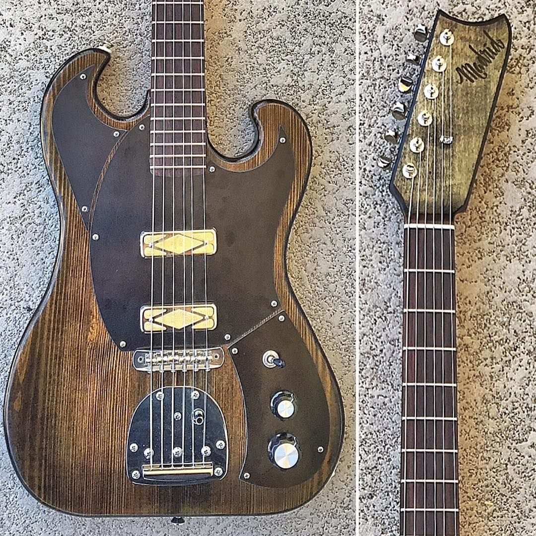 New Madrid Guitars Kon Tiki model No. 181 these guitars are made by one man, Brandon Madrid @madridguitars and are quite good and great playing guitars he uses Curtis Novak Pickups Exclusively and builds them in San Diego, Calif. This is his newest model. I love it. #madridguitars