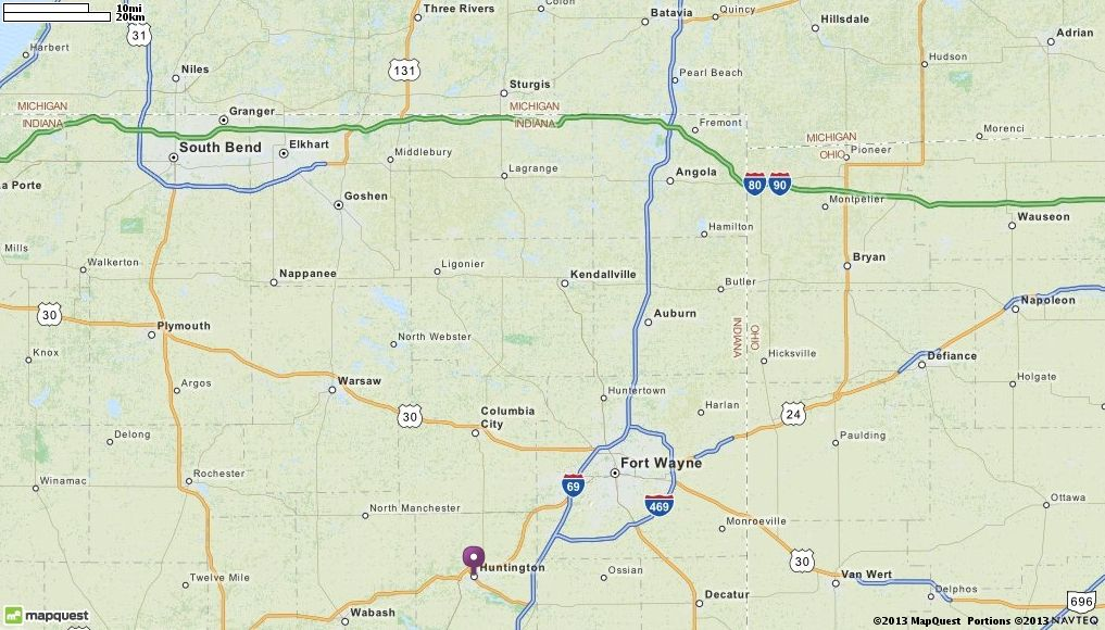Map Of Huntington IN Huntington Indiana Hotels Restaurants - Airports in indiana