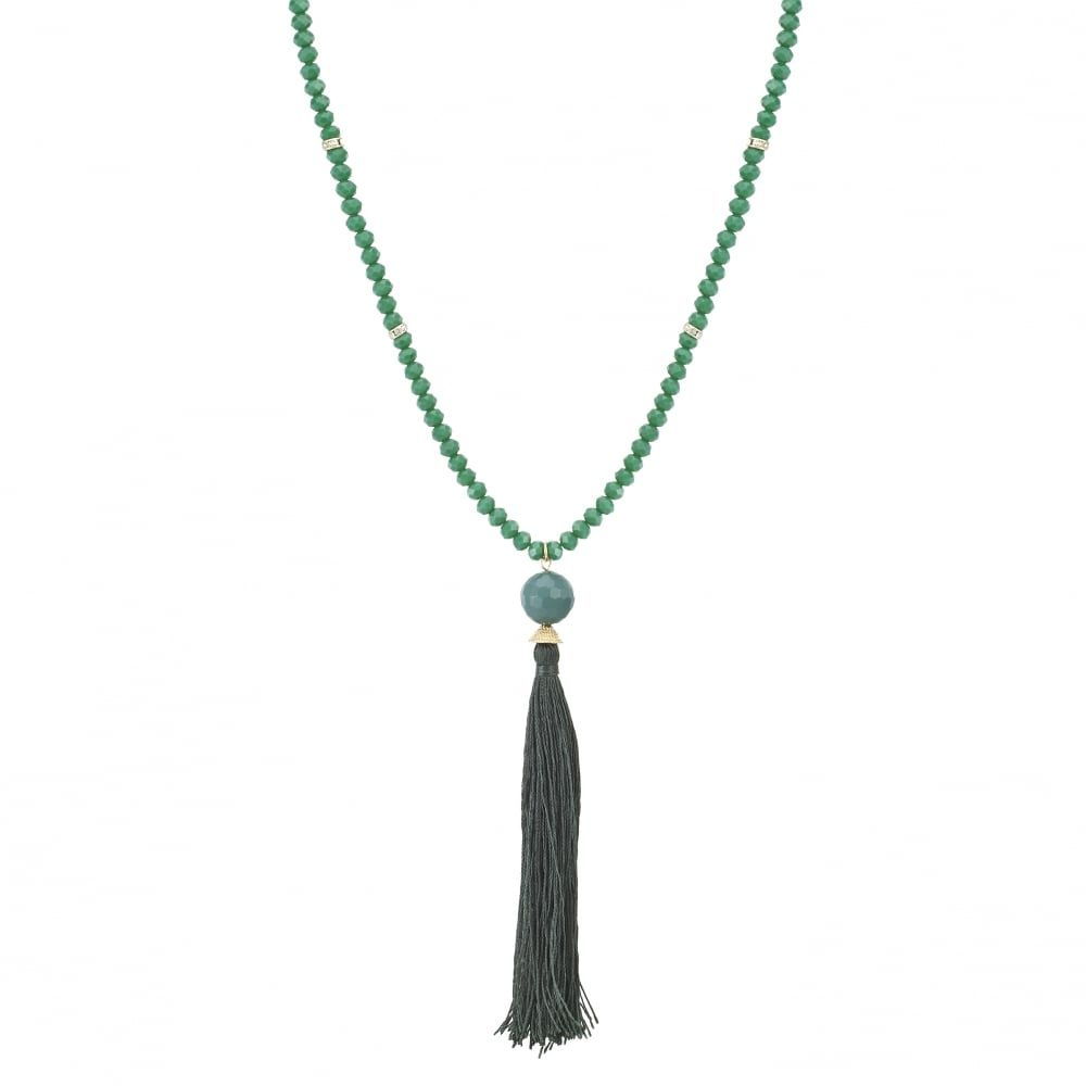 Mood Green tassel beaded long necklace