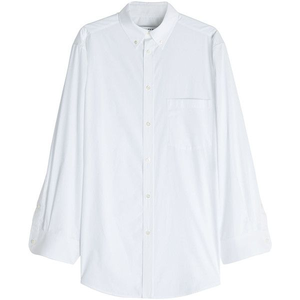 Cheap Sale Official Oversized Striped Cotton-jacquard Shirt - White Balenciaga Outlet Cheap Manchester Popular bK9wxeIb