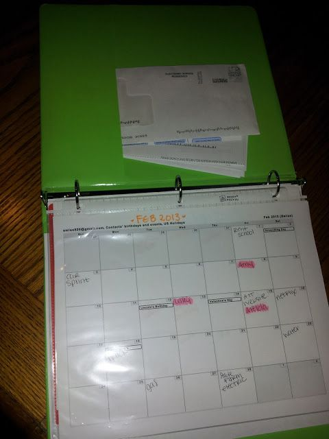 good idea to print out a monthly calender to put in your