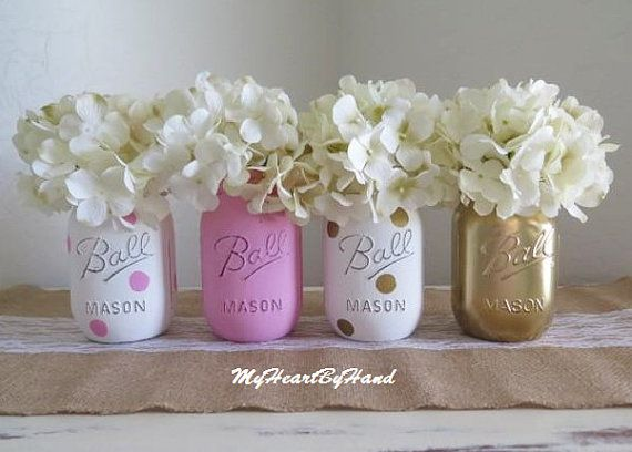 Great Pink And Gold Mason Jar Centerpieces Baby Shower By MyHeartByHand