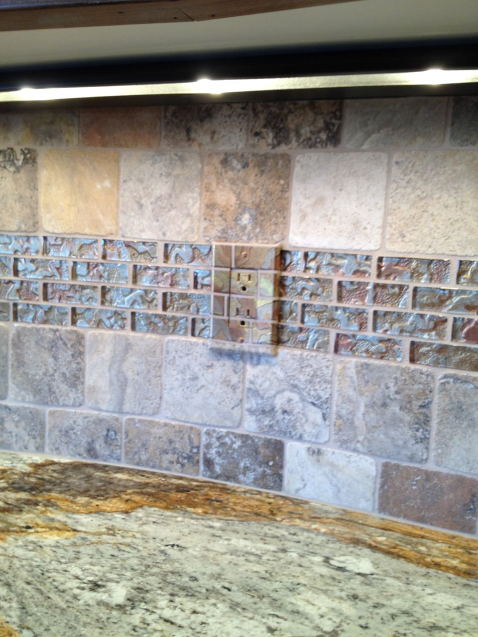The granite gurus golden ray granite kitchen from mgs by design painted outlet to match the glass tile backsplash not sure im artistic enough to do this but interesting idea dailygadgetfo Image collections