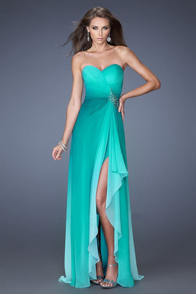 2014 Attractive Pleated Bodice Open Back Prom Dress A Line Gradient ...