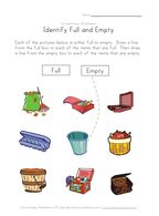 Full and Empty Worksheets for Kids | Kids Learning Station ...