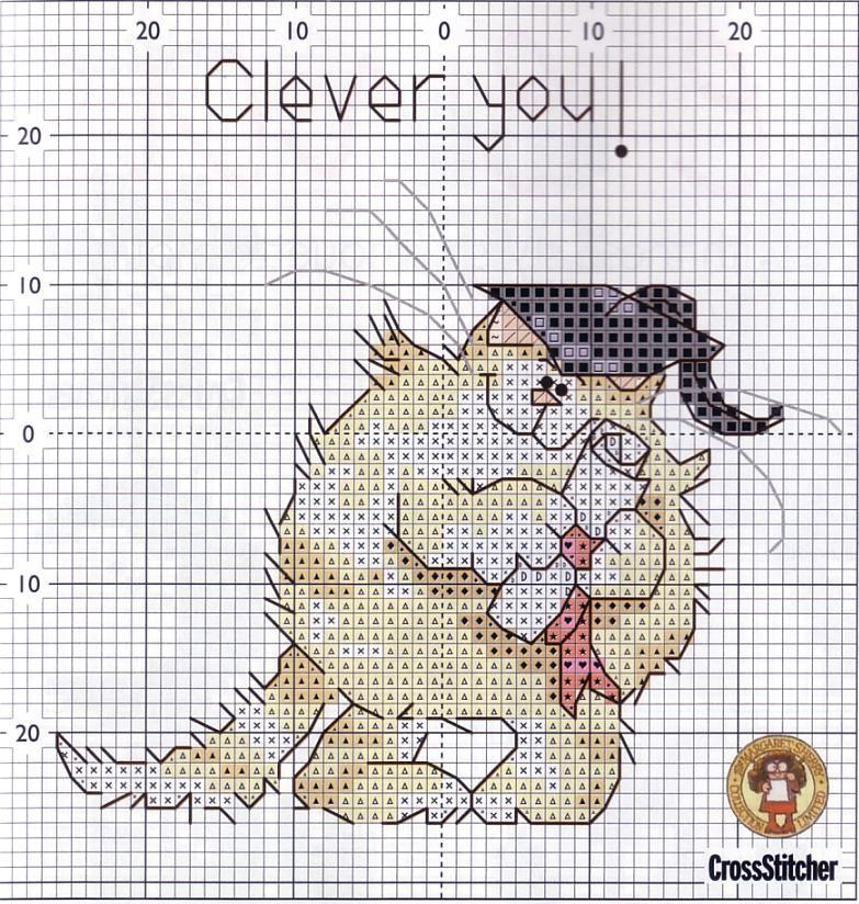 Схема вышивки смешной кот