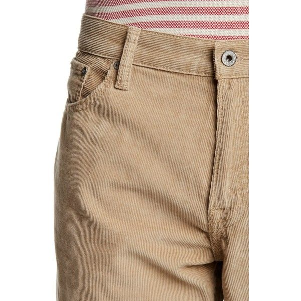 Lucky Brand 221 Original Straight Pant (£35) ❤ liked on Polyvore featuring men's fashion, men's clothing, men's pants, men's casual pants, caribbean, mens 5 pocket pants, mens zip off pants and mens corduroy pants