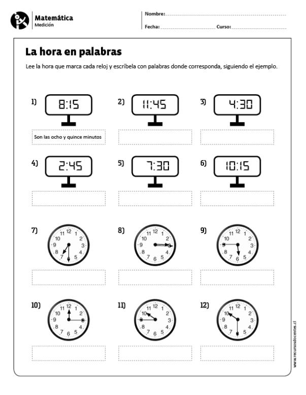 La Hora En Palabras Actividades De Matematicas Las Horas En Ingles Matematicas