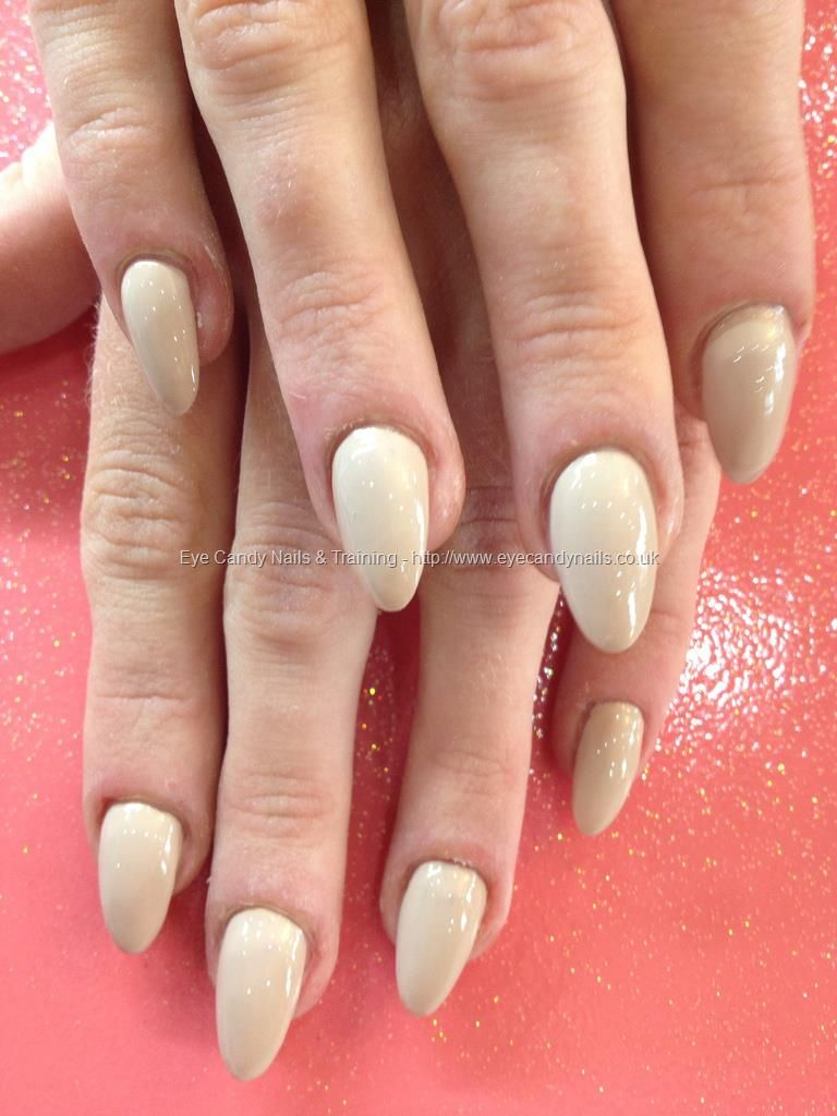 Almond shaped acrylic nails with nude polish | Makeup & Nails ...