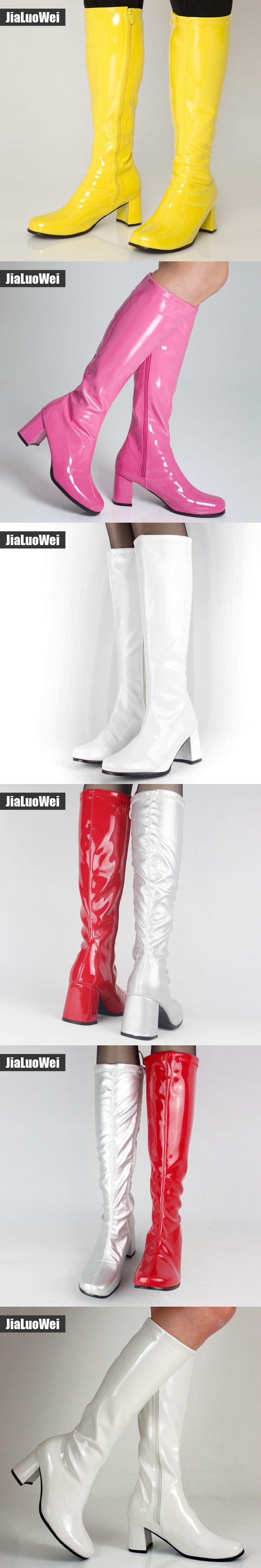 1ea5d93c0eb halloween costumes White 1960s Go Go Ladies Retro Boots For Women Knee High  Boots 60s 70s Fancy Dress Party Plus size