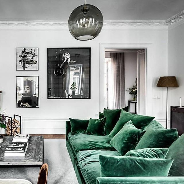 26 Relaxing Green Living Room Ideas: The Perfect Green Velvet Sofa In A Monochrome Living Room