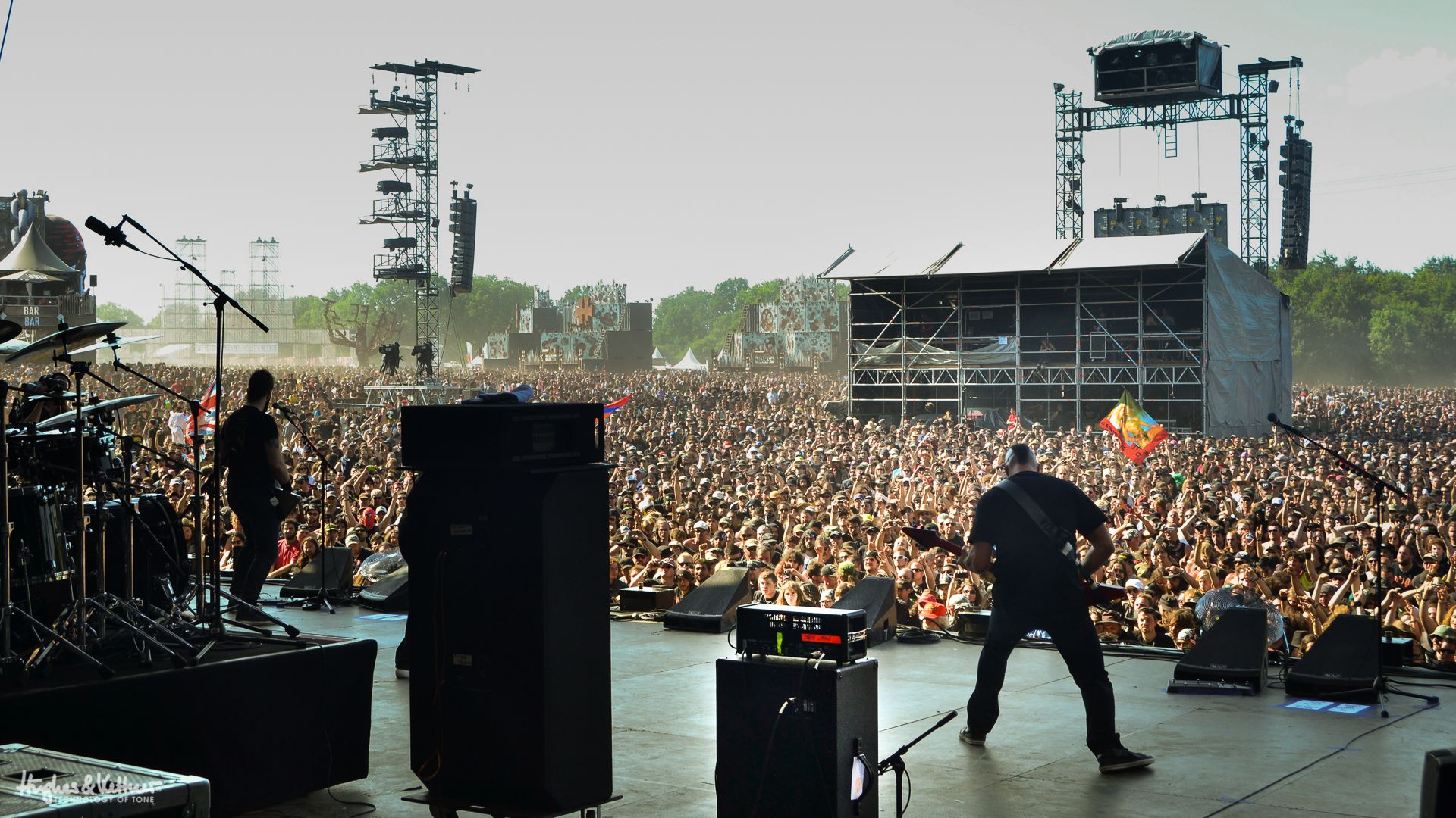 Jeff Waters and Dave Padden of Annihilator at Hellfest 2014 with the Hughes & Kettner GrandMeister.
