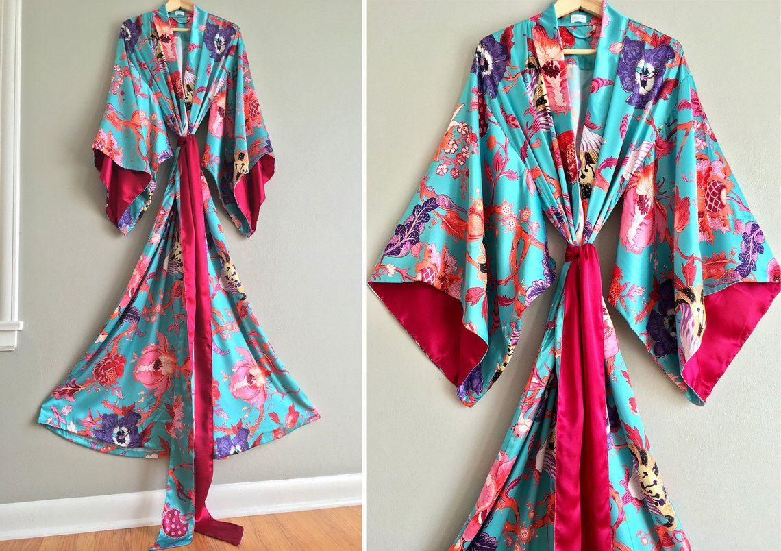 HIGH TROPICS. 1 custom long robe in azure blue satin