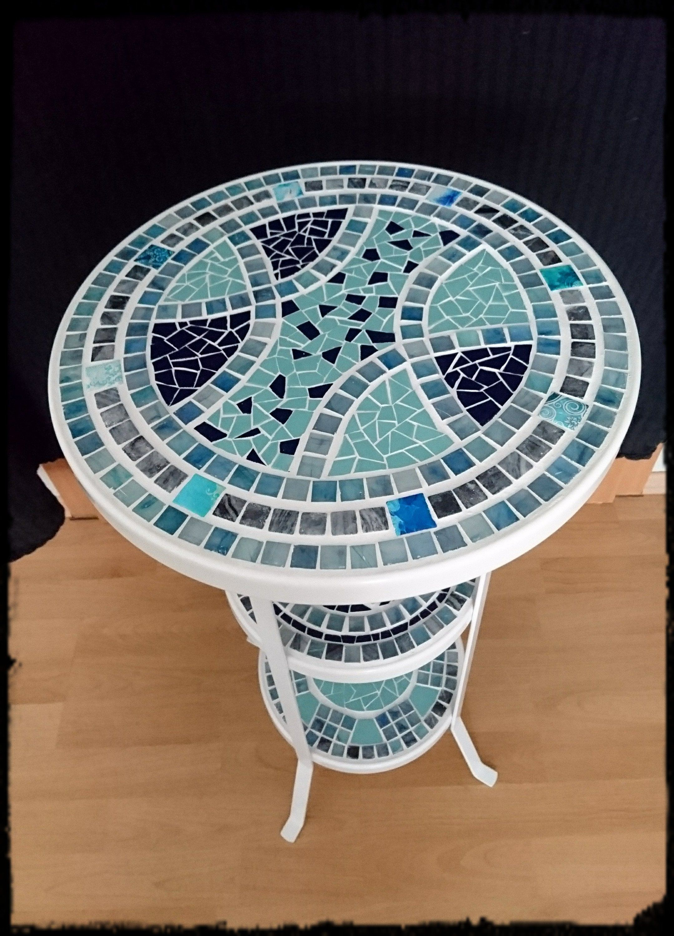 Table Side Table Flower Table Mosaic Table White Blue