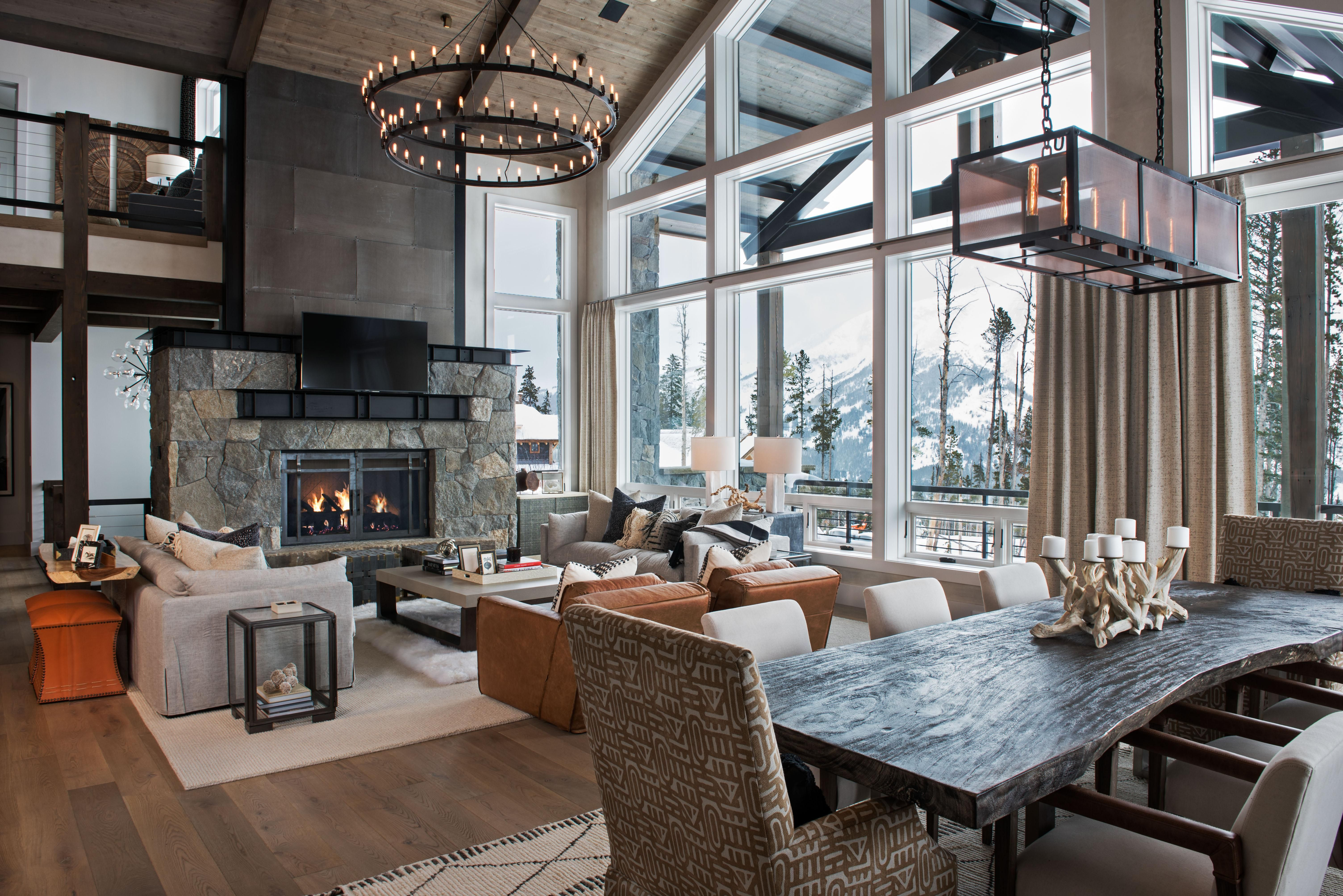 Mountain Modern Living Room In Big Sky Montana At The Yellowstone Club 6016 4016 Oc Http Ift Tt 2uf3k8h Mountain Living Room Modern Mountain Home Home