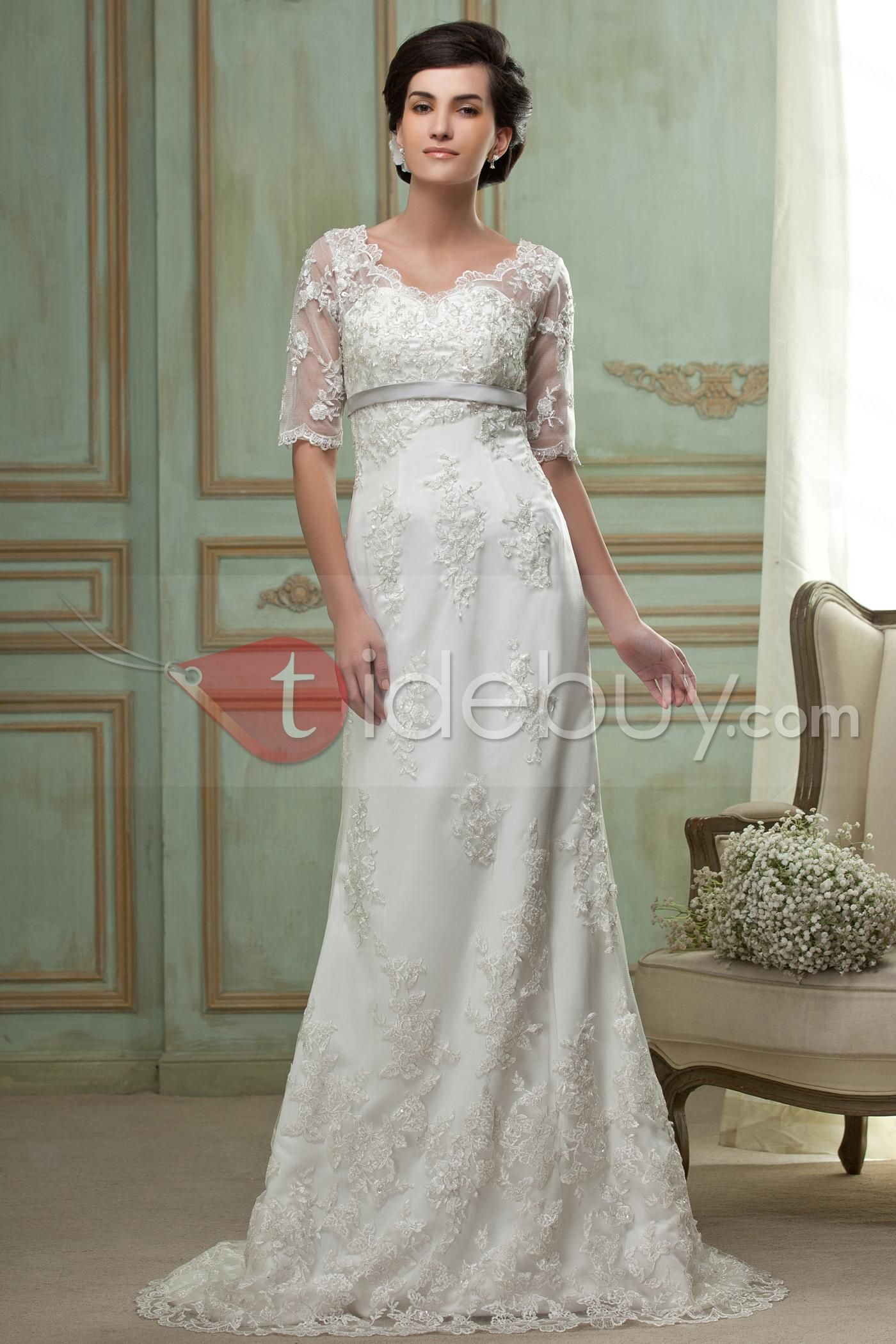 Elegant sheathcolumn vneck halfsleeve floorlength lace wedding