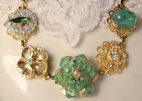 OOAK Vintage Spring Mint Apple Green & Clear Crystal Rhinestone Gold Bridesmaids Bridal Bracelet, Heirloom Cluster Earring Bracelet Wedding