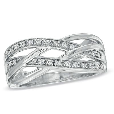 Zales 1/10 CT. T.w. Enhanced Black and White Diamond Crossover Band in Sterling Silver kzLhzhR