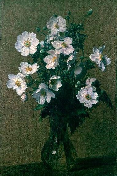 Henri Fantin Latour Japanese Anemones 1884 Henri Fantin Latour Flower Painting Oil Painting Reproductions