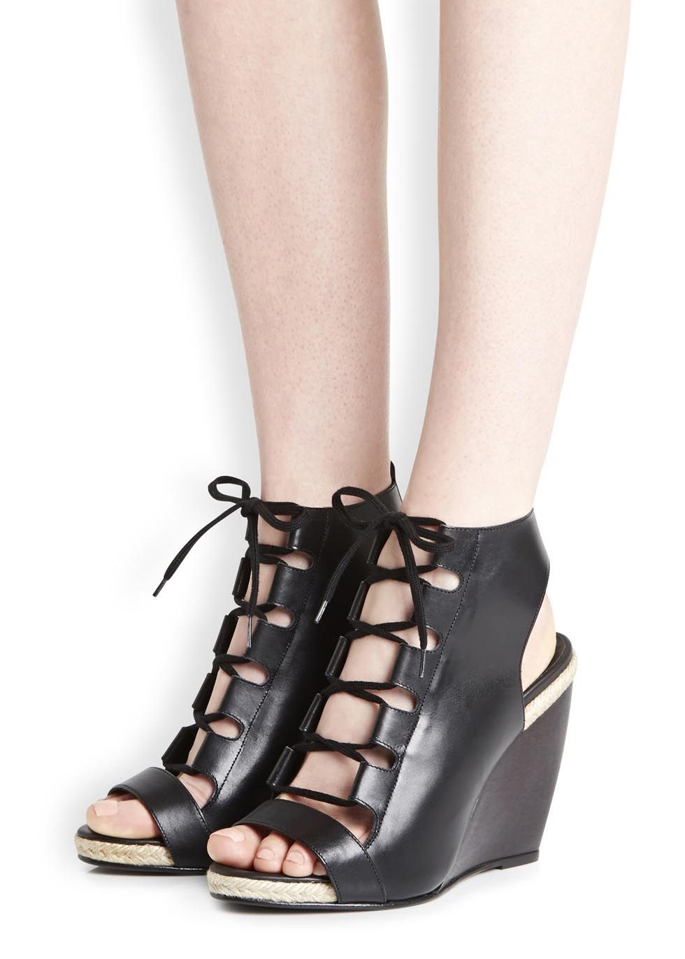 Pierre Hardy Black leather wedge sandals