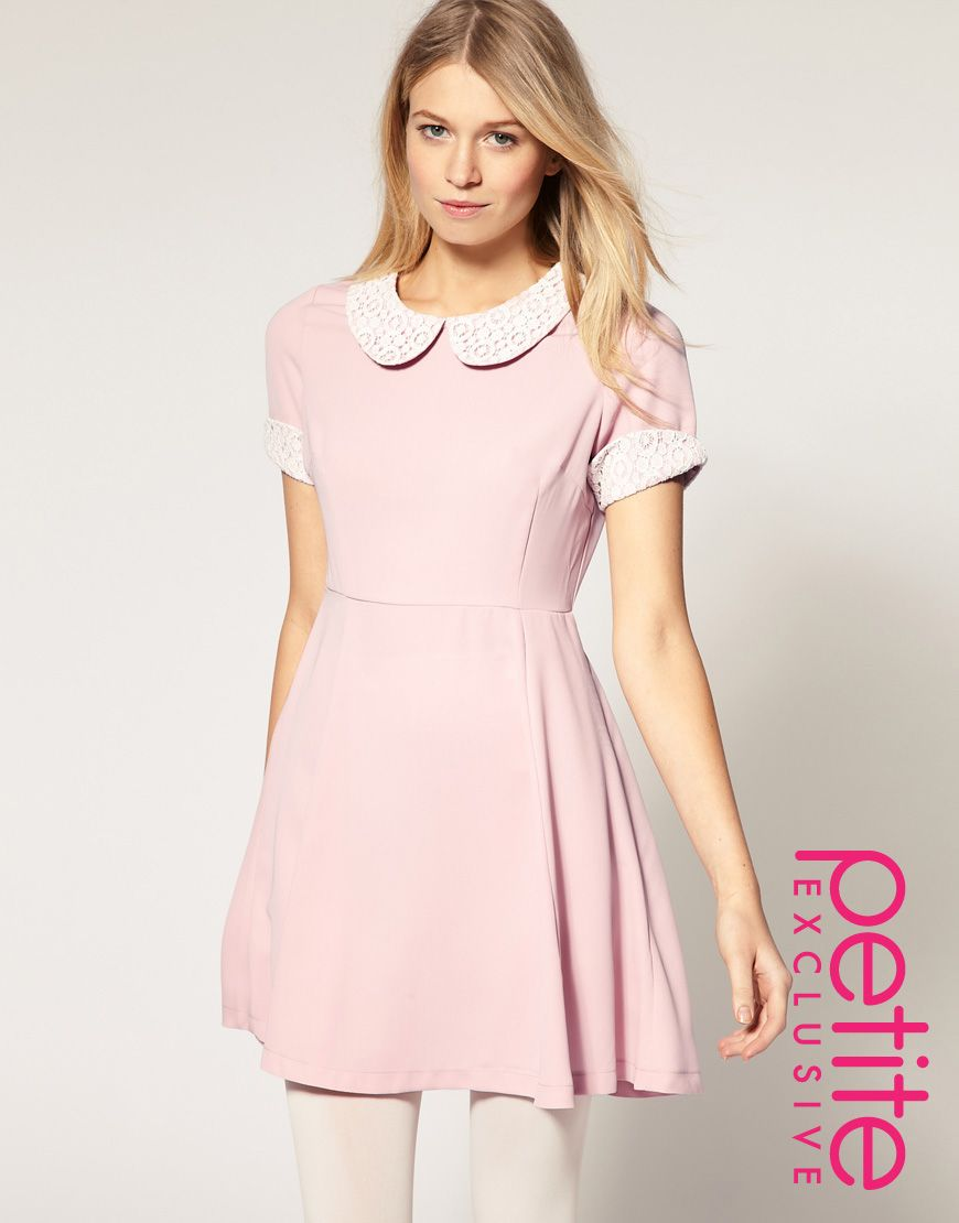 ASOS PETITE Exclusive Waisted Dress with Crochet Collar and Cuff
