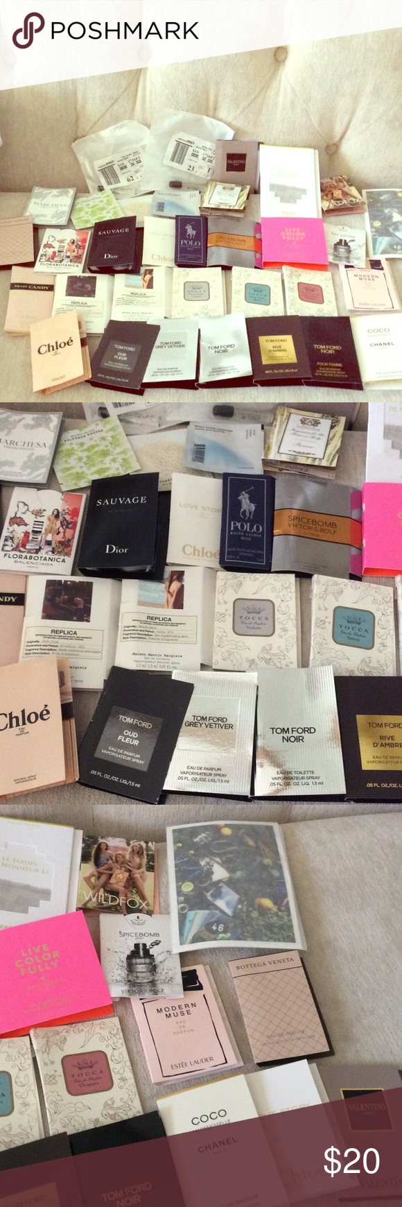 Lot of 33 perfume samples, high end Replica - beach walk, jazz club, Tom Ford - oud fleur, GREY Verviers, noir, d'ambre, Chanel - coco, Chloe - love story, Tocca - violette, Bianca, cleopatra, Kate Spade - live color fully, Estée Lauder - modern muse, Jo Malone - peony and blush suede, Dior - sausage, Ralph Lauren Polo- blue, SpiceBomb, Marchesa, and more CHANEL Makeup