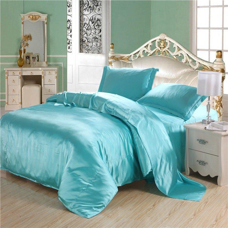 208 0us Luxury Sky Blue Silk Bedding Sets 4pc Comforter Set Duvet Cover Sets Twin Full Queen King Bed Sheet Bed Set Bed Cover Bedclothes Sheet 9 Sheets Duvet Comforter Sets White Bed Set Queen Bed