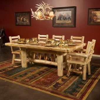Cedar Lake Deluxe Log Table In Clear Finish By The Real Furniture Place