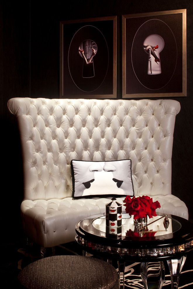 A White Leather Tufted Sofa Is The Perfect Addition To Home Nightclub Or Entertainment Room