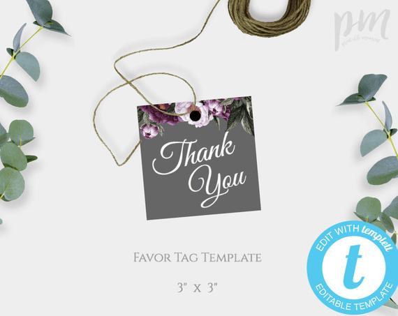 Gray and Plum Floral Wedding Favor Tags, Printable Wedding Thank You