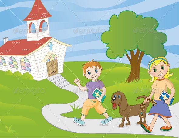 Children Walking to Church