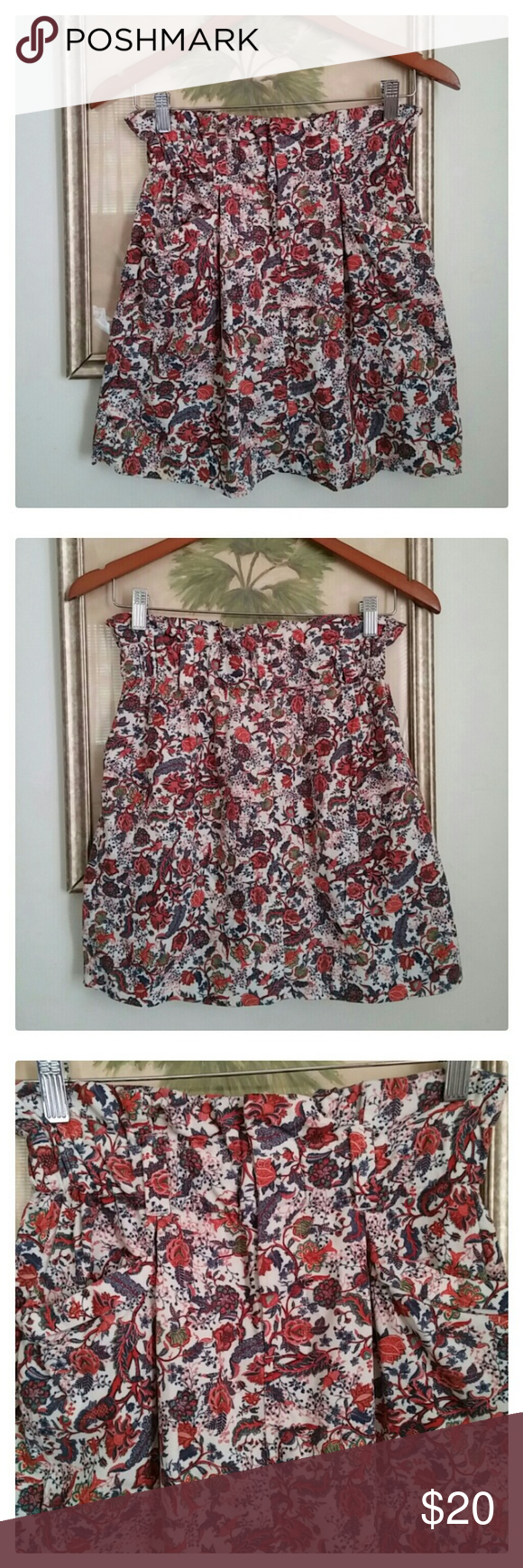 0573b4d84b Zara floral corduroy skirt Elastic waistband with belt loop Double front  pockets 100% Cotton Zara Skirts