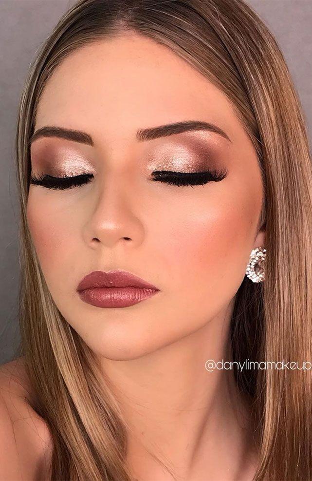 55 Stunning Makeup Ideas for Fall and Winter | Prom makeup looks, Fall makeup looks, Glitter eye mak