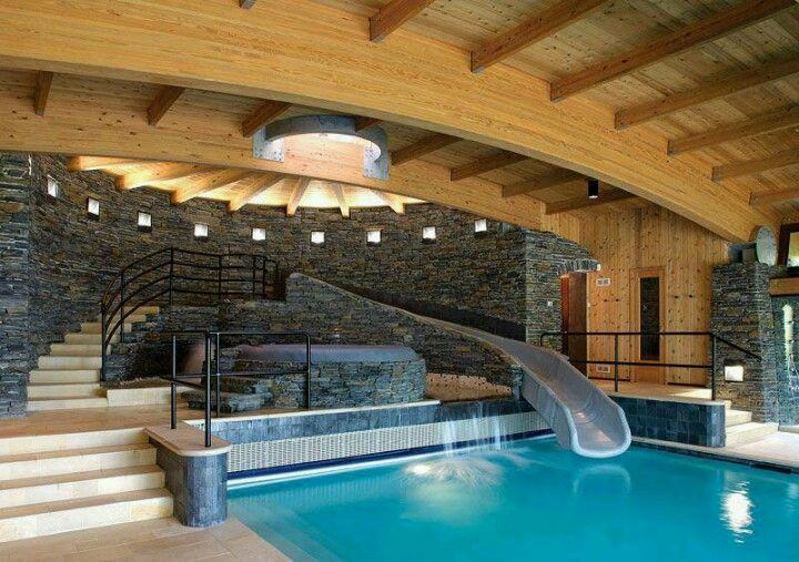 Mansion with indoor pool with slides  dream house.? I think so. | water slides☆ | Pinterest | House ...
