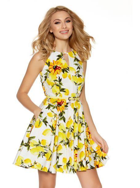 1263f6e868 White And Lemon Printed Skater Dress - Quiz Clothing