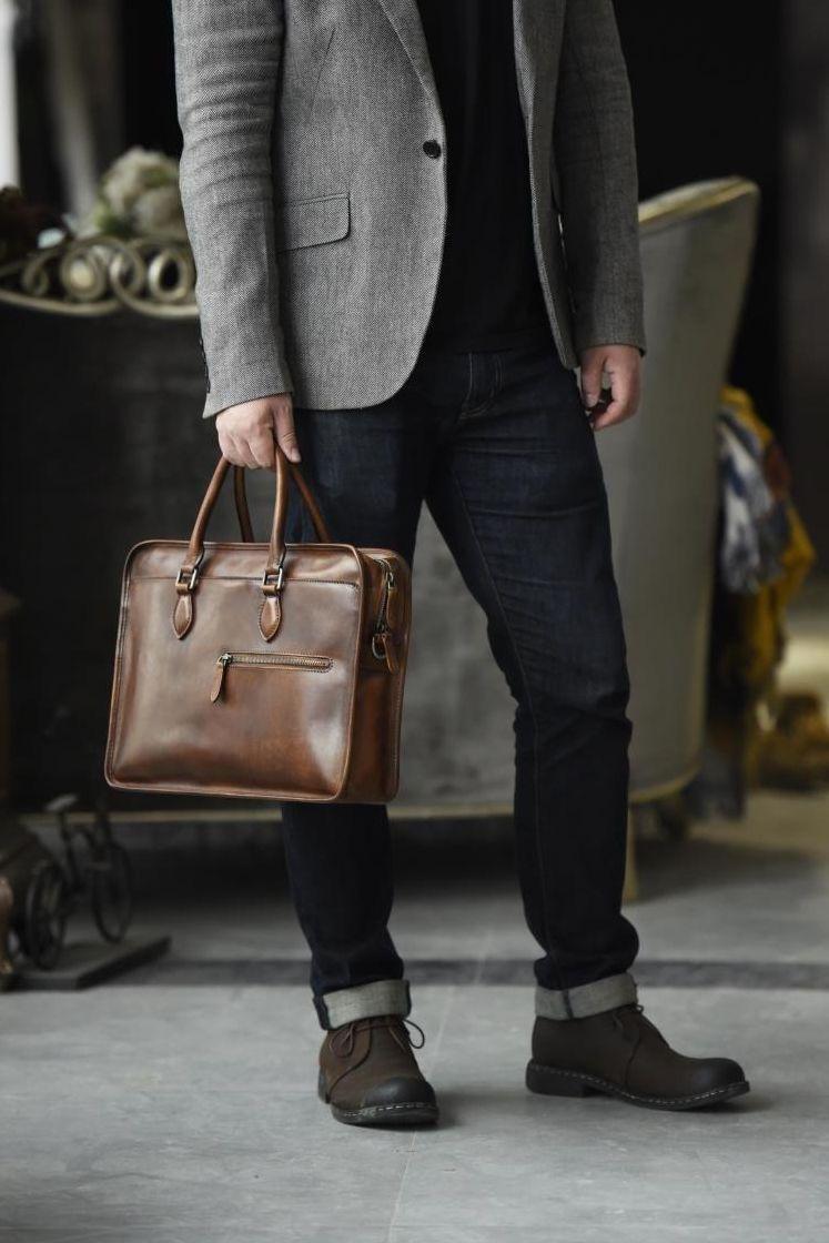 Luxury Vintage Leather Briefcase Shoulder Laptop Business Bag For Men Business Bags Men Mens Leather Bag Leather Bag Men Vintage