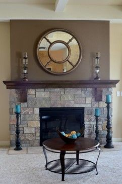 Stone Fireplace Love The Colors Of Stone With The Dark Taupey