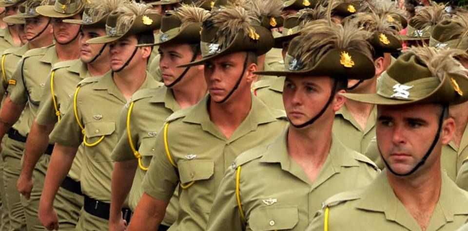 3b0b780401e Members of the 2nd Cavalry Regiment wearing slouch hat and plumes on parade.