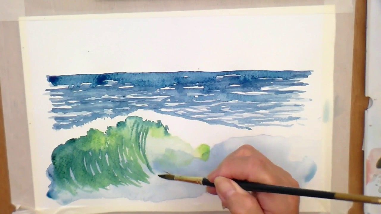 How To Paint A Wave In Watercolour One Lecture From A Course Watercolor Paintings Tutorials Watercolor Wave Landscape Paintings