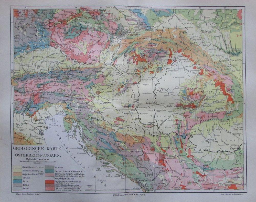 1888 Kärnten Österreich 1860-1944 Alte Landkarte Antique Map Lithographie